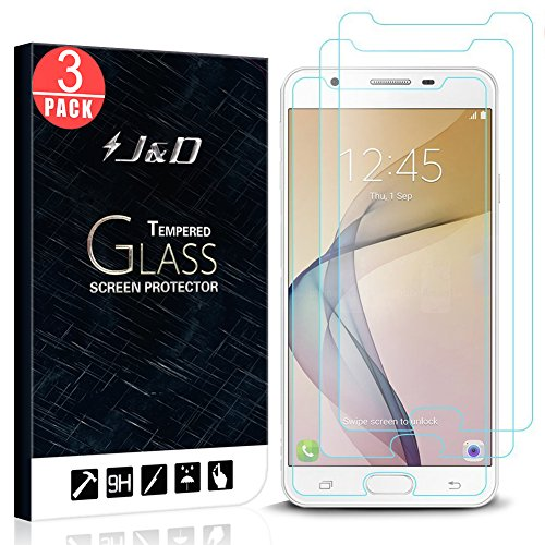 3 Packs - Galaxy J7 Prime Screen Protector, Galaxy J7 2017 Screen Protector, J&D Tempered Glass HD Clear Ballistic Glass Screen Protector for Samsung Galaxy ...