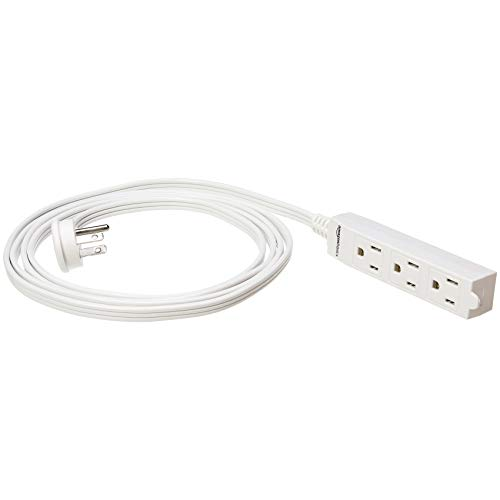 Amazonbasics Flat Plug Grounded Indoor Extension Cord With 3 Outlets  White  25 Foot  U2013 Toolsoid